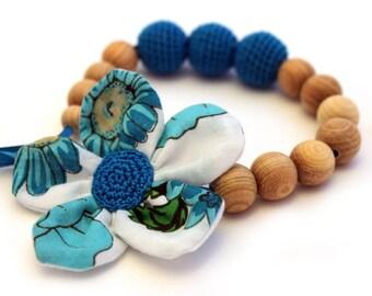 OOAK Teal Nursing Necklace / Teething necklace / Fabric Neckalce