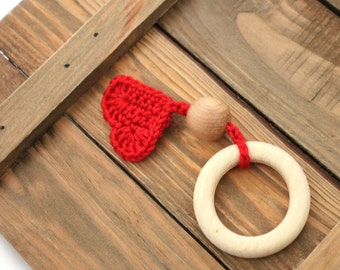 Red Heart Baby Teething Toy/ Crochet toy / Fine motor skills development toy / Chewing Toy