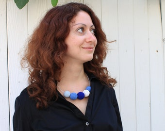 Sky Blue Crochet Necklace / Wooden Necklace / Crochet Beaded Necklace Made in Israel by CasaDeGato