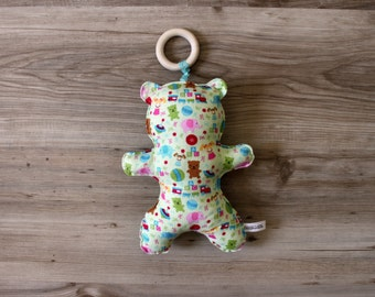 Baby Flanel Stuffed Bear Toy with Detachable Wood Teething Ring / Baby Comforter