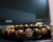 Men's/Unisex Bracelet.Mens Celtic Bracelet - Tiger Eye Bracelet with  Celtic Design Bead.