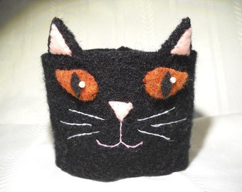 Black Cat Felted Coffee Cozy