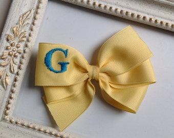 Banana Yellow Monogrammed Bow with Turquoise Blue Initial by Cheryl's Bowtique