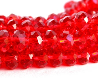 "8"" 36pc Cherry Red 8mm x 5mm designer glass rondelle Beads faceted crystal"