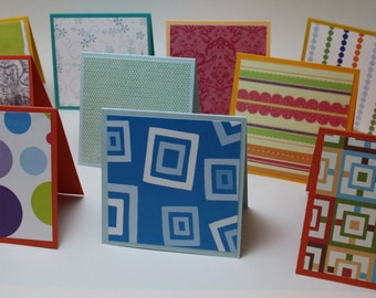 MINI blank CARDS - variety of colours and patterns....for those who love SURPRISES.  Great for Etsy orders