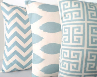 Blue Pillow Covers, Decorative Throw Pillows, Cushion Covers, Village Blue Natural, Chevron, Ikat, Greek Key - Combo Set of Three 18 x 18