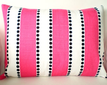 Pink Stripe Pillow Covers, Decorative Lumbar Throw Pillow, Cushion Covers, Hot Pink White Lulu Stripes Black Dots One 12 x 16 or 12 x 18