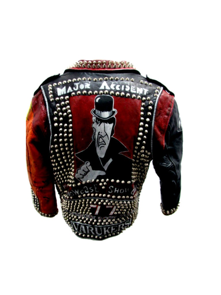 Vintage Studded Punk Custom Painted Leather Motorcycle Jacket