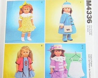 McCalls Doll Clothes Pattern M4336 -  18 Inch Doll Clothes - American Girl