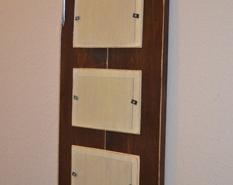 Wood Picture Frame 4 x 6 - Brown and Ivory--Wedding Gift