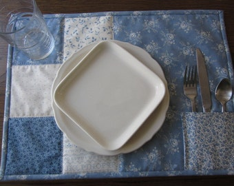 Blueberry Quilted Placemats   Set of 2