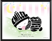 Personalized Baby Girl or Baby Boy Print, Black or Brown Baby Silhouette, Framed Nursery Wall Art Decor, Baby Shower Gift