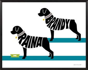 Personalized Pair of Rottweilers Print, Silhouette of Two Dogs, Framed 11x14 Rottweiler Name Art