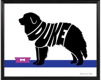 Personalized Great Pyrenees Print, Framed 8x10 Dog Art, Gift for Dog Lover, Dog Memorial Gift