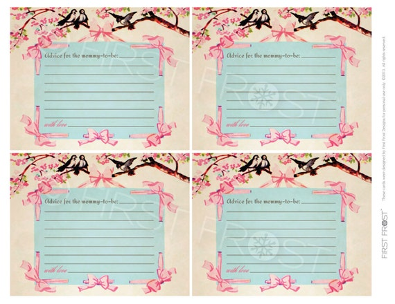 Wedding shower advice cards template mini bridal for Bridal shower advice cards template