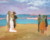 Beach wedding painting impressionist - nice gift - small painting of wedding on a Maui beach Anniversary gift