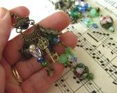 Whimsical, steampunk,Green and blue, Gypsy, Bohemian, Hippie, chandelier earrings, by NewellsJewels on etsy