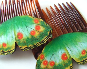 Two GREEN Butterfly, red and yellow, wings, hair combs, hair slides, by NewellsJewels on etsy