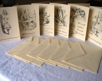 40 Blank inside cards- Thank you--Alice in Wonderland Notecards- Vintage illustrations and quotes from book- blank inside