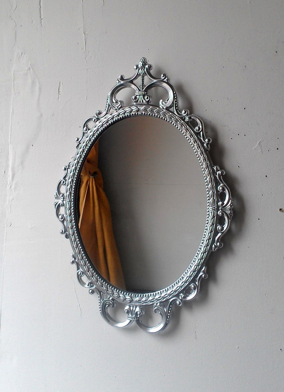 Bright Silver Mirror in Vintage Metal Oval Frame Mid Century