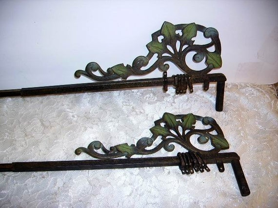 ... Victorian Ornate Iron Swing Arm Curtain Rods with Original Hooks