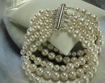 Pearls Splendor - Five Strand Swarovski White Pearl and Sterling Silver Bridal Bracelet