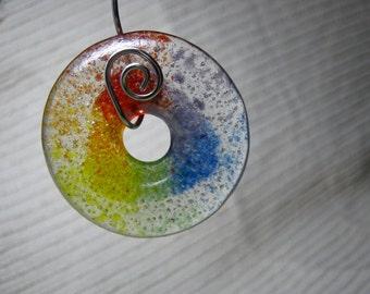 LGBT Jewelry Making Supplies, Handmade Fused Glass,  Meditation Circle, Large Round Donut Focal Bead, Rainbow Jewelry, Pride Jewelry