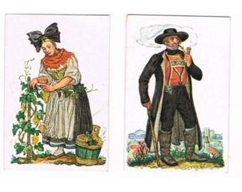 12 Vintage German Collector Pictures - German Traditional Costumes - Tobacco Cards - Europe