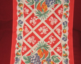 Fruit Full  Great Linen Tea Towel Never Used Or washed Starwbeery  Grapes Cherry