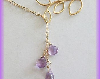 Amethyst Necklace, Purple Necklace -Gold Fill, Lariat, Delicate leaf NECKLACE w/ Natural AAA Amethyst Birthday gift, Mothers day