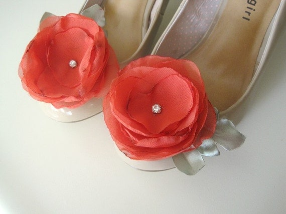 STORE CLOSING  REDUCED Watermelon Hair clips or Shoe Clips Handmade Chiffon Flowers
