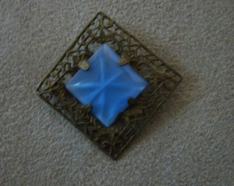 Vintage Early 1900s Czech Pin Brooch Open Leafy Frame with Blue Square Thermoplastic Center
