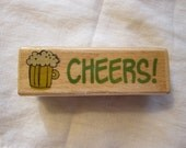 SALE - rubber stamp - CHEERS with beer mug