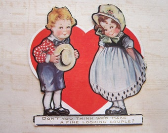 antique valentine - don't you think we'd make a fine looking couple - super sweet