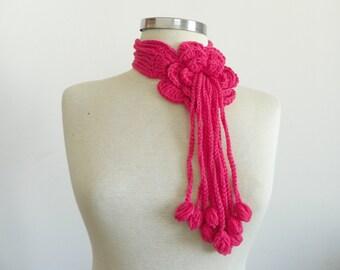 Crochet lariat scarf, handmade crochet flower neckwarmer autumn women accessories, powder pink winter - fall fashion