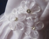 Satin and organza communion dress with rhinestones fit your American Girl and other 18 inch dolls