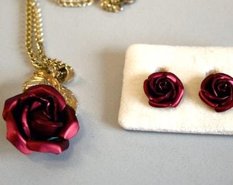 Vintage Demi Parure, vintage jewellery,  vintage earrings, vintage necklace, vintage pendant, red rose, clip on earrings, jewellery set