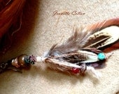 Pocahontas...Unique Handmade SINGLE Feather Turquoise Drop Ear-Ring Or Pendant..SouthWestern