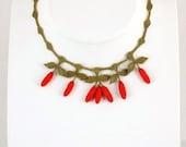 Red,Cornelian,Cherry,Crochet Necklace and Green Leaves,berry necklace,fruit necklace,red necklace,crochet necklace,coral bib,bridal necklace