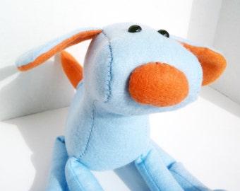 Dog or puppy felt plush - light blue and orange