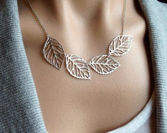 Silver Leaf Bib Necklace - gift, mother, wife, romantic, girlfriend, daughter, botanical, bridesmaid, sister, friend, birthday