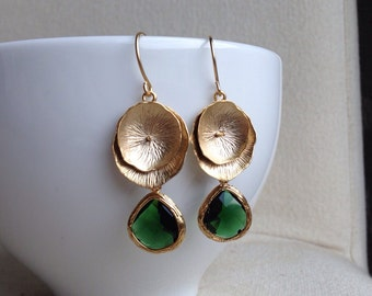 Golden Lotus Leaf Earrings with Emerald Green Teardrop - Christmas, gift, mother, sister, friend, daughter, wife, romantic, birthday
