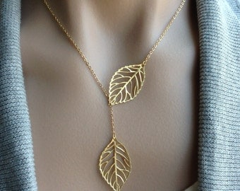 Leaf Lariat Necklace in Gold - gift, romantic, feminine, delicate, birthday, bridesmaid, mother, sister, daughter, wife, romantic