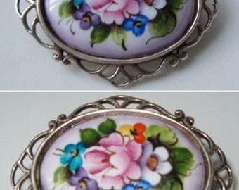 Vintage Painted Porcelain Sterling Silver Signed Designer Pin Brooch Floral Rose