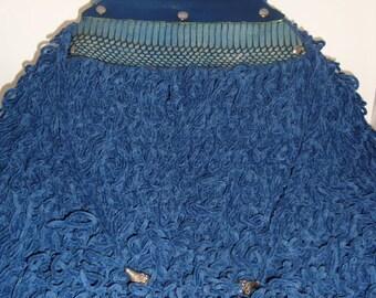 Crochet Handbag- Denim Blue Leather Trim