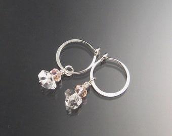 Natural Quartz Crystal Birthstone Hoop Earrings October birthstone pink Hoops in Sterling silver