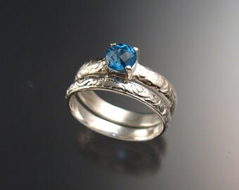 Blue Topaz Wedding set Sterling Silver ring made to order in your size