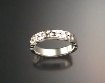 Heavy 14k White Gold Moonscape Wedding band Unique Handmade ring