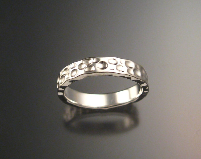 14k White Gold Moonscape Wedding band Unique Handmade ring