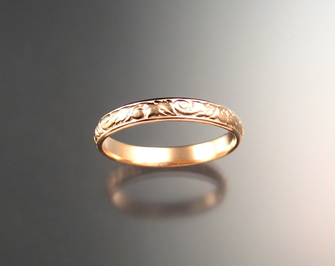 14k rose Gold 3.25 mm Floral pattern Band Pink Gold wedding ring made to order in your size Victorian wedding band